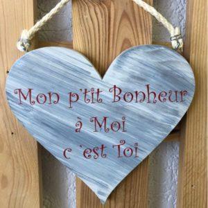décoration coeur en bois