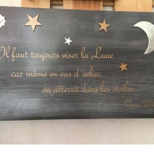 tableau déco en bois avec citation