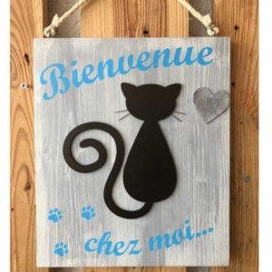 tableau en bois chat