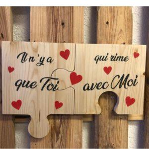 tableau romantique en bois